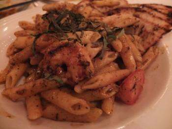 Icon Grill Cajun Shrimp Penne Pasta Close-Up
