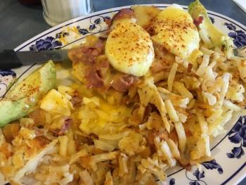 Pete's Eggnest Pastrami Benedict