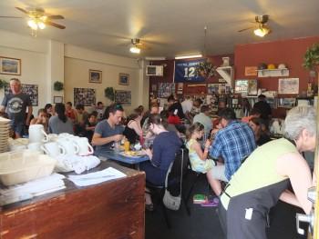 Pete's Eggnest Crowds Inside