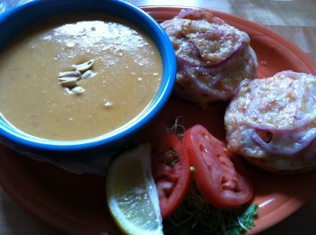 Salmon Melt with African Peanut Soup