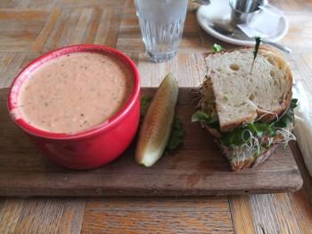 Colophon Cafe Garlic Chicken Avocado & Tomato Blue Cheese Soup
