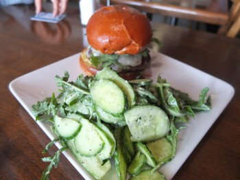 The Golden State Burger with Cucumber Salad