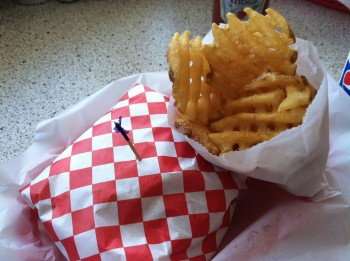 Boomers Burger with Waffle Fries