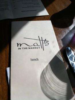 Matt's in the Market Menu