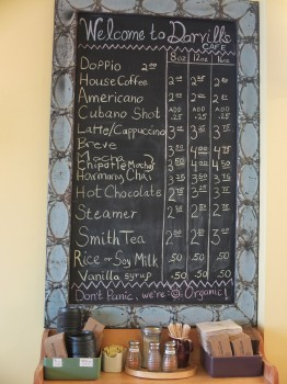 Darvill's Bookstore Cafe Menu