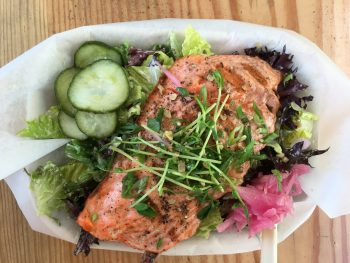 Red Fish Blue Fish Grilled Salmon with Salad for Dinner