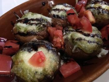 Olive & Grape Stuffed Mushrooms Close-Up