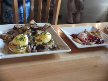 Portage Bay Cafe SLU Mushroom Benedict & Swedish Pancakes
