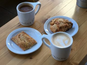 Preserve & Gather Sundried Tomato Feta Scone and Almond Nectarine Pastry with Americano & Caramel Latte